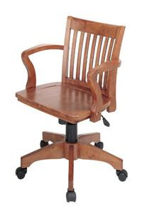 Office Star Deluxe Wood Bankers Desk Chair with Wood Seat,