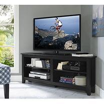 "WE Furniture 58"" Wood Corner TV Stand Console, Black"