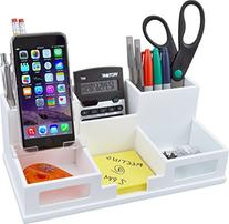 Victor Wood Desk Organizer with Smart Phone Holder, Pure