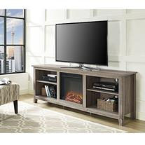 "WE Furniture 70"" Wood Fireplace TV Stand Console, Driftwood"