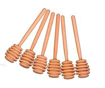 Honey Dipper Set of 6 Wood Stick Server for Honey Jar