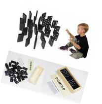 28pcs Children's Wooden Boxed Domino Game Play Set
