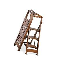 "Wooden Folding Ladder Stool 3 Step Walnut Finish 48"" - Pine"