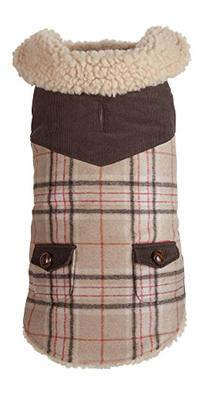 """Fab Dog Wool Plaid Shearling Dog Jacket, Camel, 12"""" Length"""