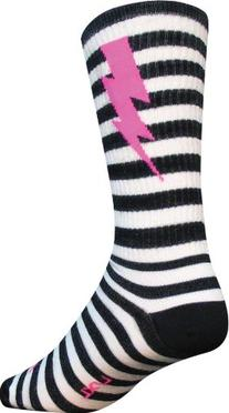 SockGuy Mens Lightning Wool Sock Black/White Small/Medium