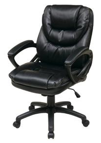 Office Star Faux Leather Manager's Chair with Padded Arms,