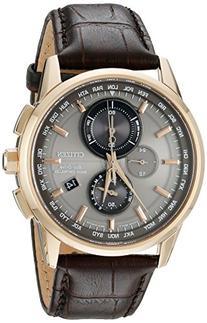 Men's Citizen Eco-Drive World Chronograph A-T Brown Leather