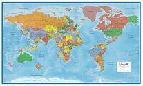 Swiftmaps World Premier Wall Map Poster Mural 24h x 36w