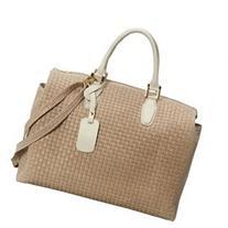 Large Woven Italian Leather Satchel Handbag