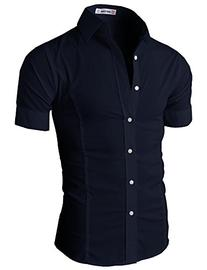 Mens Wrinkle Free Slim Fit Shirt with Solid Long Sleeve