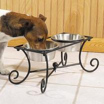 Pet Studio Wrought Iron Two-Bowl Raised Diners - Versatile