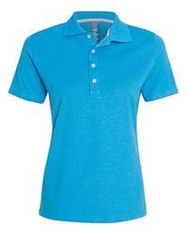 Hanes X-Temp® Women's Polo, neon blue, SMALL