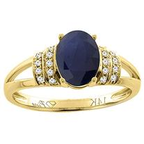 14K Yellow Gold Natural Blue Sapphire Ring Oval 8x6 mm