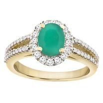 14K Yellow Gold Natural HQ Emerald Split Shank Halo