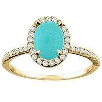 10K Yellow Gold Natural Turquoise Ring Oval 8x6mm Diamond