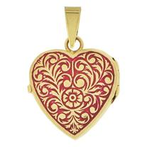 14k Yellow Gold, Locket Pendant Charms For Photos Heart