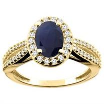10K Yellow Gold Natural HQ Blue Sapphire Ring Oval 8x6mm
