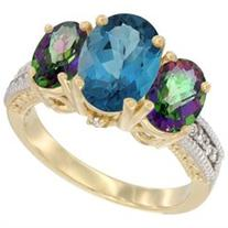 10K Yellow Gold Natural London Blue Topaz Ring Ladies 3-