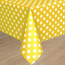 "Yellow Polka Dot Plastic Tablecloth, 108"" x 54"