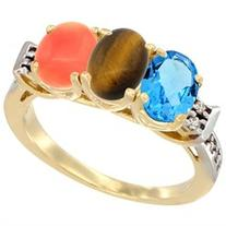 10K Yellow Gold Natural Swiss Blue Topaz, Tiger Eye & Coral