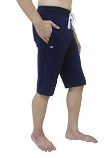 Men Yoga Shorts, Navy Blue - Size M