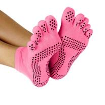 ProSource Yoga Socks Full Toe with Grips, Pink, Small/Medium
