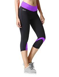 Baleaf Women's Yoga Running Workout Capri Legging Hidden