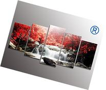 youkuart kx9906 5-Piece Red Woods Waterfall Canvas Print