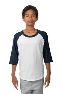 Sport-Tek Youth Colorblock Raglan Jersey, M, White/Navy