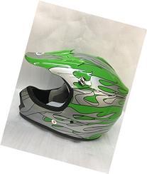 SmartDealsNow YOUTH DOT Helmet Green/Flame Color Dirt Bike