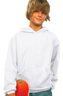 LAT Apparel Youth Pullover Fleece Hoodie - Medium - White