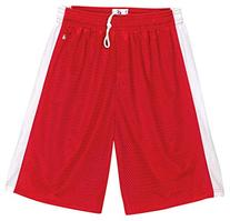 Badger Youth Panels Elastic Waistband Mesh Short, Red/Wht,
