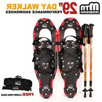 "New MTN Man Woman Kid Youth 29"" Red YP Snowshoes with GOLD"