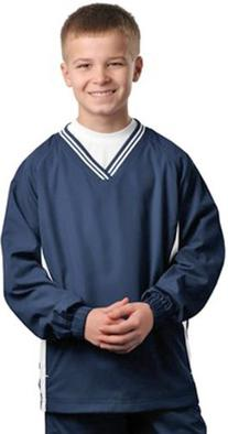 Sport-Tek Youth Tipped V-Neck Raglan Wind Shirt>L True Navy/