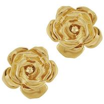 Vintage Yves Saint Laurent Gold Rose Earrings