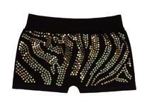 Lizatards Zebra Spandex Shorts in Black with Gold Sequins -