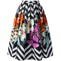 Chicwish Zigzag Bouquet Printed Midi Skirt
