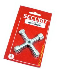 Securit zinc plated 4 way utility key - Opens water,