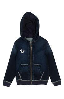 Boy's True Religion Brand Jeans Zip Denim Hoodie, Size XL